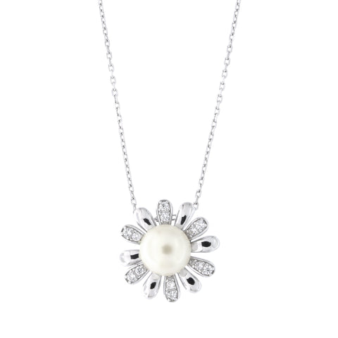 Solid Sterling Silver Rhodium Plated Freshwater Pearl Cubic Zirconia Daisy Flower Pendant Necklace, 18""