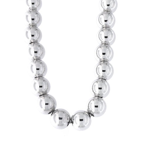 Solid Sterling Silver Rhodium Plated 10mm Fancy Bead Necklace, 18.5""