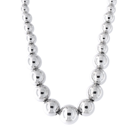 Solid Sterling Silver Rhodium Plated 5mm-8mm Graduated Bead Necklace, 17""