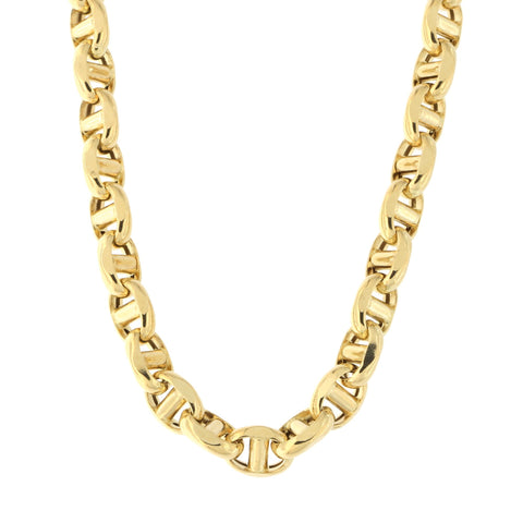 Beauniq Men's 14k Yellow Gold Lightweight 4.5mm Anchor Mariner Chain Necklace, 20""