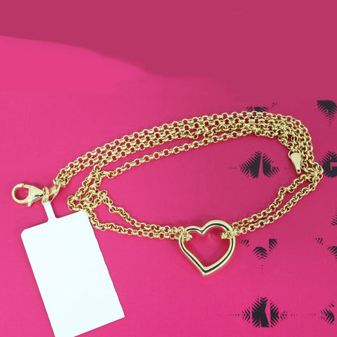 14k Yellow Gold Double Chain Heart Anklet - 10""