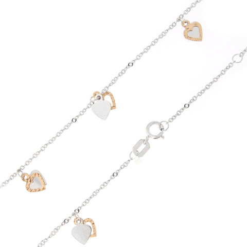 14k White and Rose Gold Two-Tone Dangling Diamond-Cut Hearts Anklet - 10""