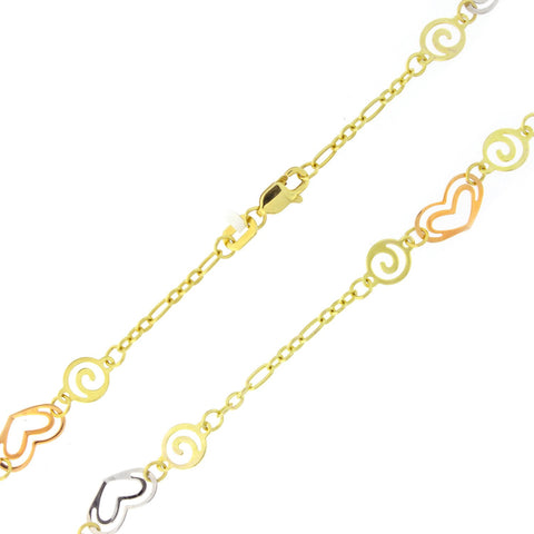 Beauniq 14k Yellow, White and Rose Gold Tri-Color Hearts and Swirls Anklet - 10""