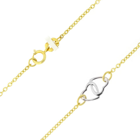 "Beauniq 14k Yellow and White Gold Two-Tone Interlocking Hearts Adjustable Anklet - 9"" - 10"""