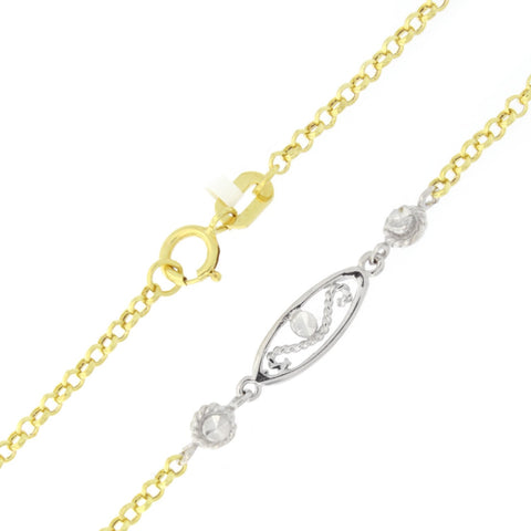 "Beauniq 14k Yellow and White Gold Two-Tone Open Swirl Link Adjustable Anklet - 9"" - 10"""