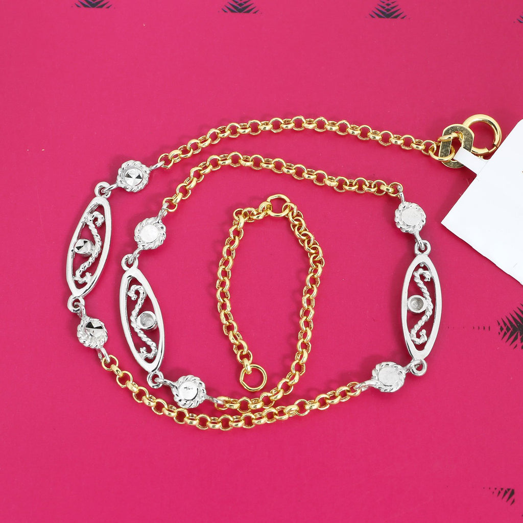 shipping free watches today overstock jewelry figaro product anklet white gold chain inch