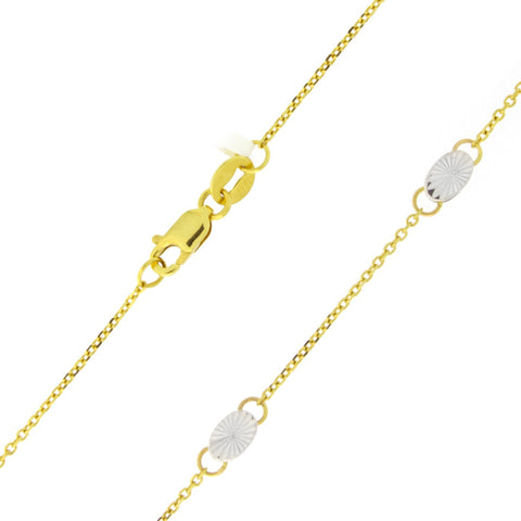 Beauniq 14k Yellow and White Gold Two-Tone Tiny Diamond-Cut Oval Station Anklet - 10""