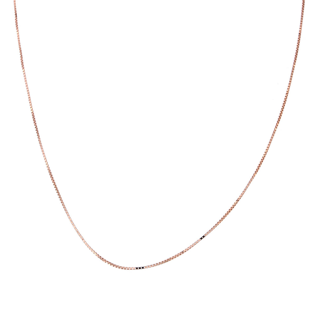 Solid 14k Yellow, White or Rose Gold 0.7mm Adjustable Box Chain Necklace, up to 22""
