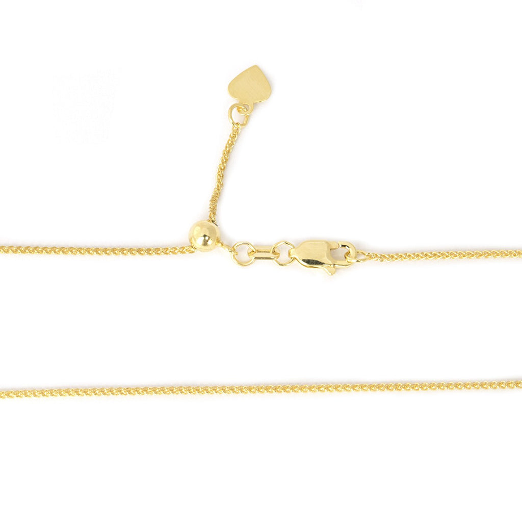 Beauniq Solid 14k Yellow or White Gold 1mm Adjustable Wheat Chain Necklace, up to 22""
