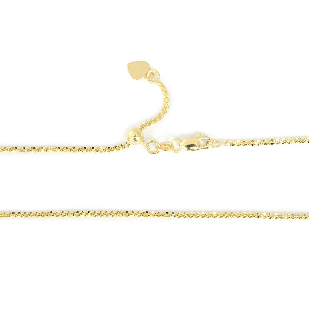 Beauniq Solid 14k Yellow or White Gold 1.5mm Adjustable Sparkle Chain Necklace, up to 22""