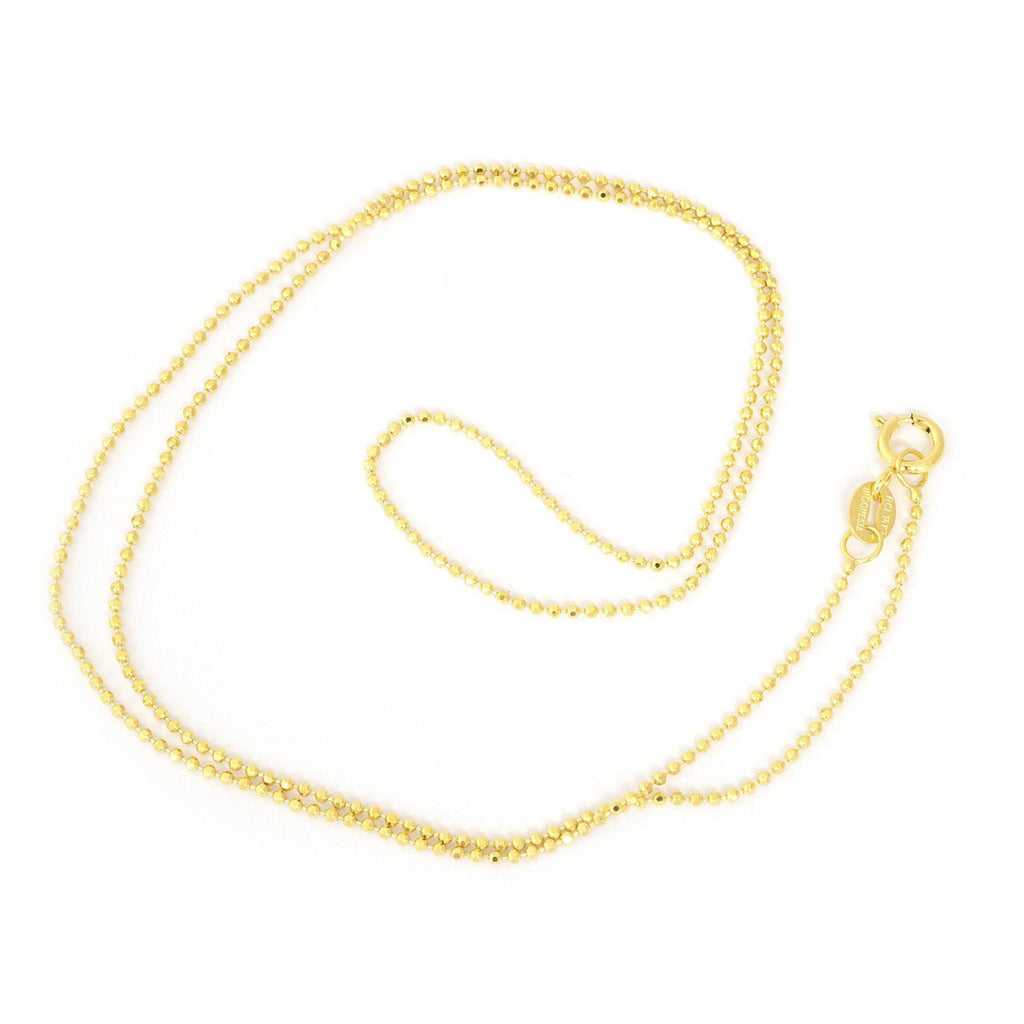 "14k Yellow Gold 1.0mm Diamond-Cut Bead Chain Necklace, 16"" 18"" 20"""