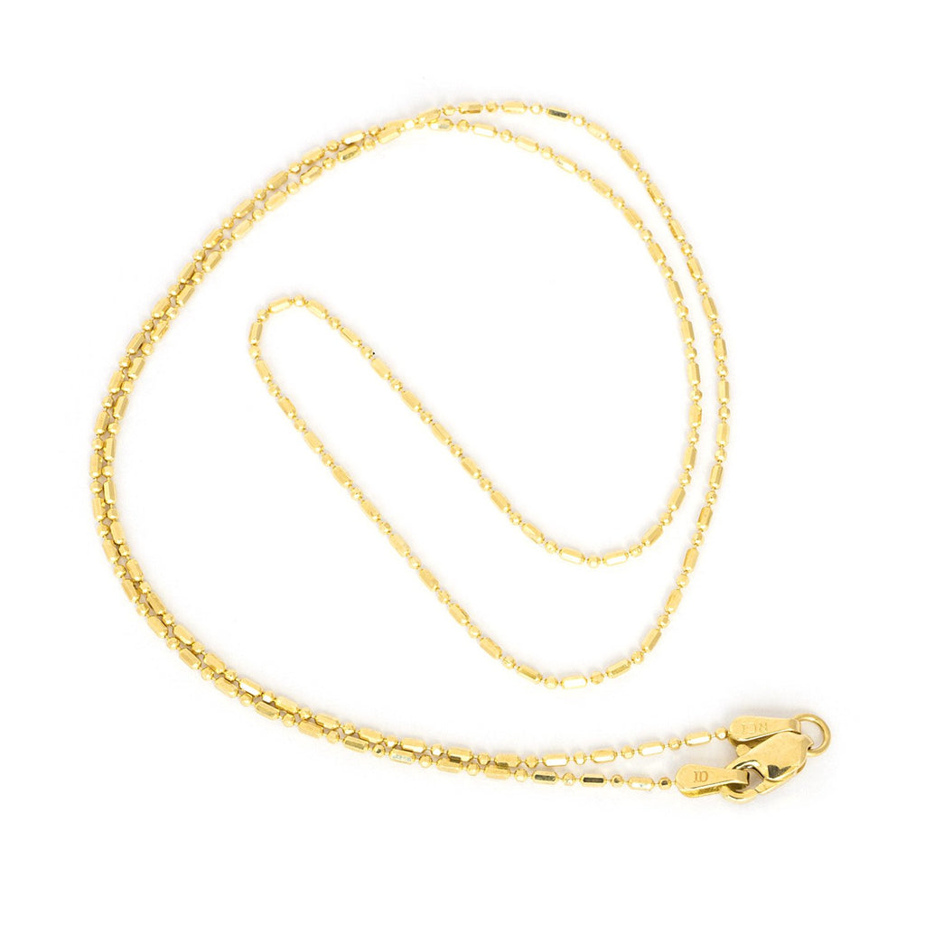 "14k Yellow or White Gold 1.0mm Diamond Cut Bar and Bead Mezzaluna Chain Necklace, 16"" 18"" 20"""