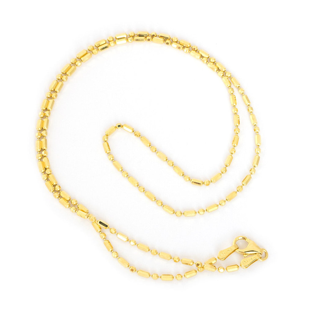 14k Yellow Gold 1.5mm Diamond Cut Bar and Bead Mezzaluna Chain Necklace, 16""