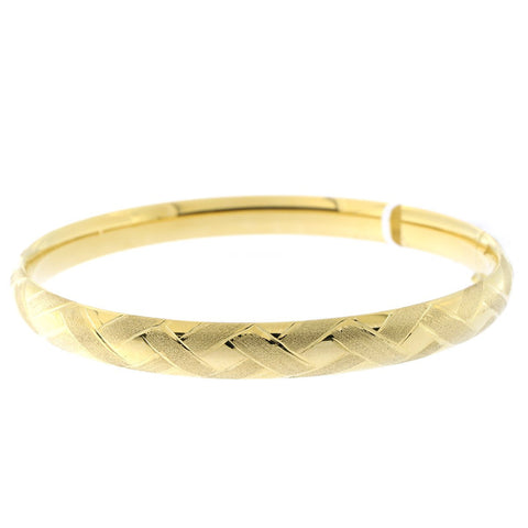 14k Yellow Gold 6mm Basket Weave Textured Bangle Bracelet, 7""