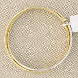 14k Yellow and White Gold Two-Tone Overlapping Bangle Bracelet, 7""