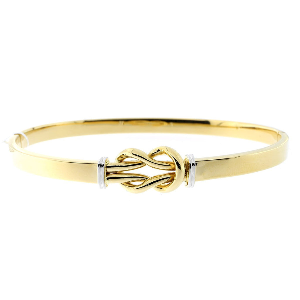 14k Yellow and White Gold Two-Tone Knot Bangle Bracelet, 7""