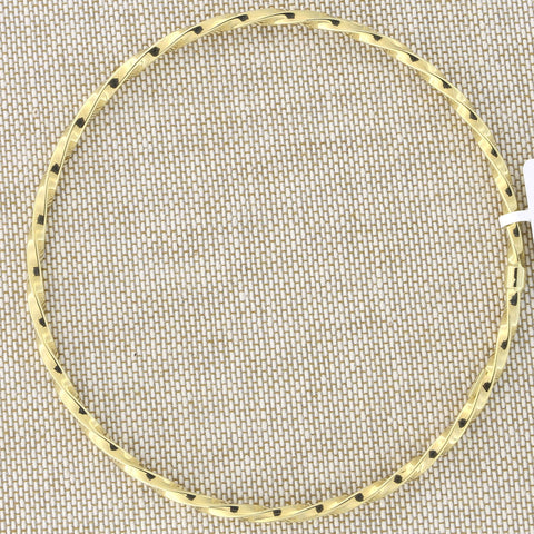 14k Yellow Gold 2mm Twisted Bangle Bracelet, 8""