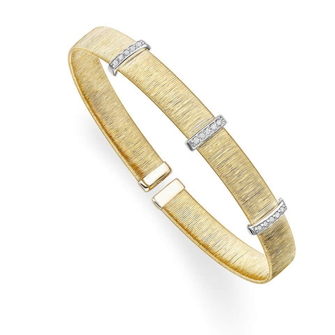 14k Yellow and White Gold Two-Tone 0.15ct Diamond Brushed Omega Italian Silk Cuff Bangle Bracelet