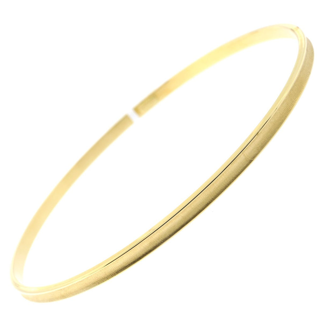 14k Yellow, White or Rose Gold 3mm Matte Bezel Bangle Bracelet, 8""