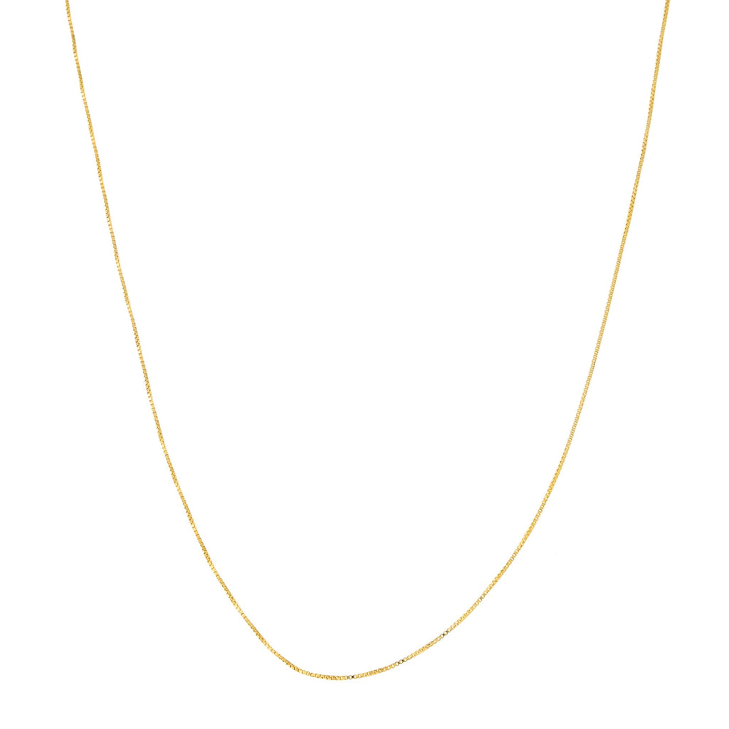 14k Yellow or White Gold 0.4mm Box Chain Necklace, 18""