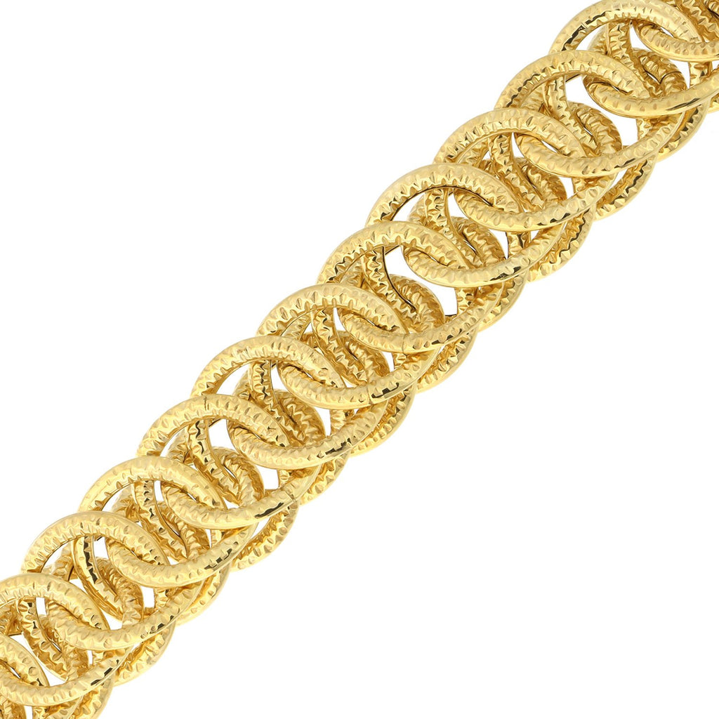 14k Yellow Gold Lightweight Diamond Cut Reversible Overlapping Links Bracelet, 7.75""