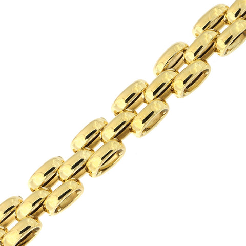 14k Yellow Gold Lightweight Puffed Bismark Chain Bracelet, 8""