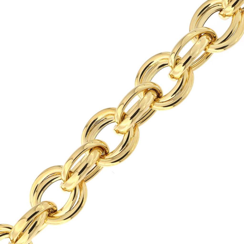 14k Yellow Gold Lightweight Double Round Link Bracelet, 8""