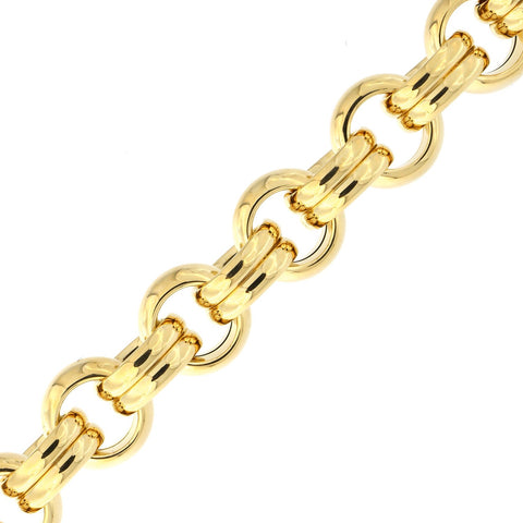 14k Yellow Gold Lightweight Circle and Double Oval Link Bracelet, 8""