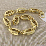14k Yellow Gold Lightweight Interlocking Oval Link Bracelet, 7.5""
