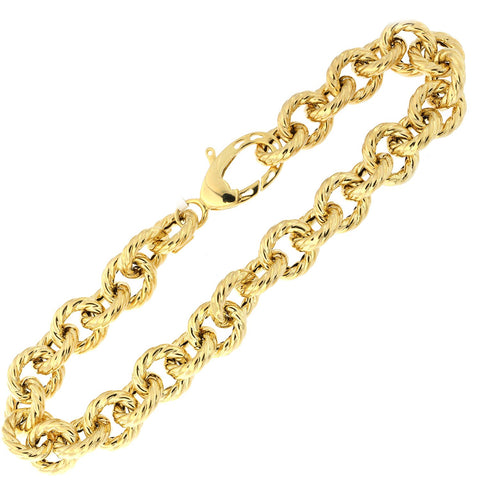 14k Yellow Gold Lightweight Cable Textured Link Bracelet, 8""