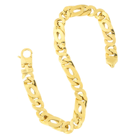 Mens' 14k Yellow Gold 8.0mm Fancy Figaro Chain Bracelet, 8.5 inches