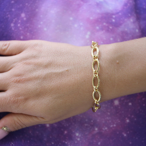 14k Yellow Gold Hammered Cable Link Bracelet, 7.25""