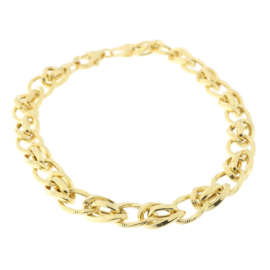 14k Yellow Gold Diamond Cut Accented Curb Link Bracelet, 7.5""