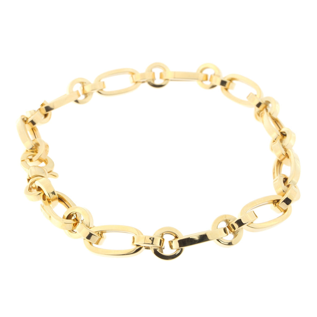 14k Yellow Gold Oval and Circle Link Bracelet, 7.5""