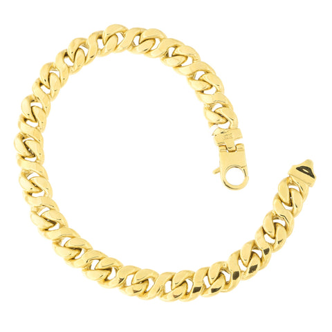 Mens' 14k Yellow Gold 8.8mm Infinity Miami Cuban Curb Chain Bracelet, 8.5 inches