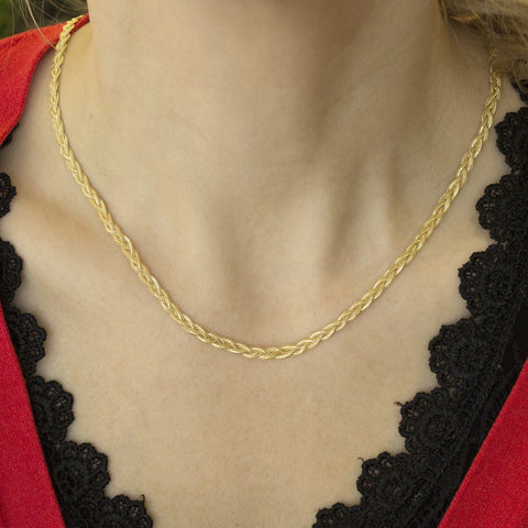 14k Yellow Gold 3.5mm Braided Fox Chain Necklace, 18""