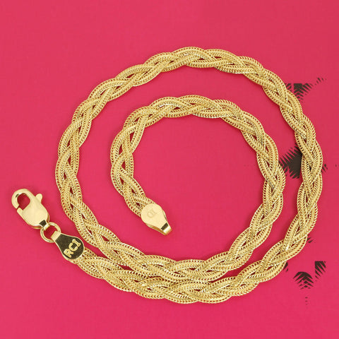 14k Yellow Gold 3.5mm Braided Fox Chain Anklet, 10""