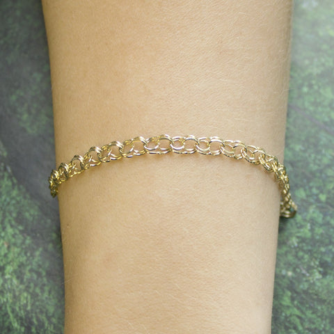 Solid 14k Yellow Gold 5mm Solid Round Double Link Chain Bracelet, 7""