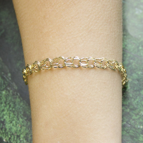 Solid 14k Yellow Gold 6.5mm Solid Round Double Link Chain Bracelet, 7""