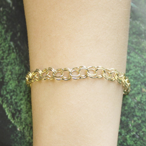 Solid 14k Yellow Gold 7.5mm Solid Round Double Link Chain Bracelet, 7""