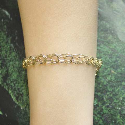 Solid 14k Yellow Gold 8mm Solid Round Double Link Chain Bracelet, 7""