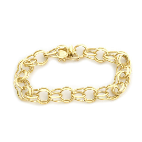 Solid 14k Yellow Gold 10mm Solid Round Double Link Chain Bracelet, 7""