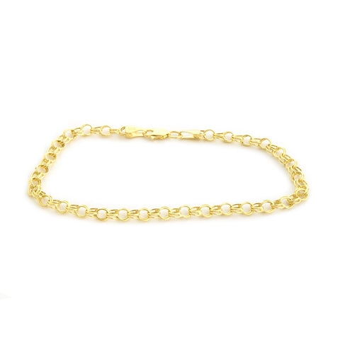 14k Yellow Gold Lightweight 4mm Round Double Link Chain Bracelet, 7.25""