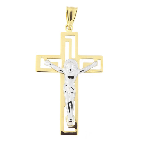 "14k Yellow and White Gold Two-Tone Square 1.25"" Crucifix Cross Pendant"