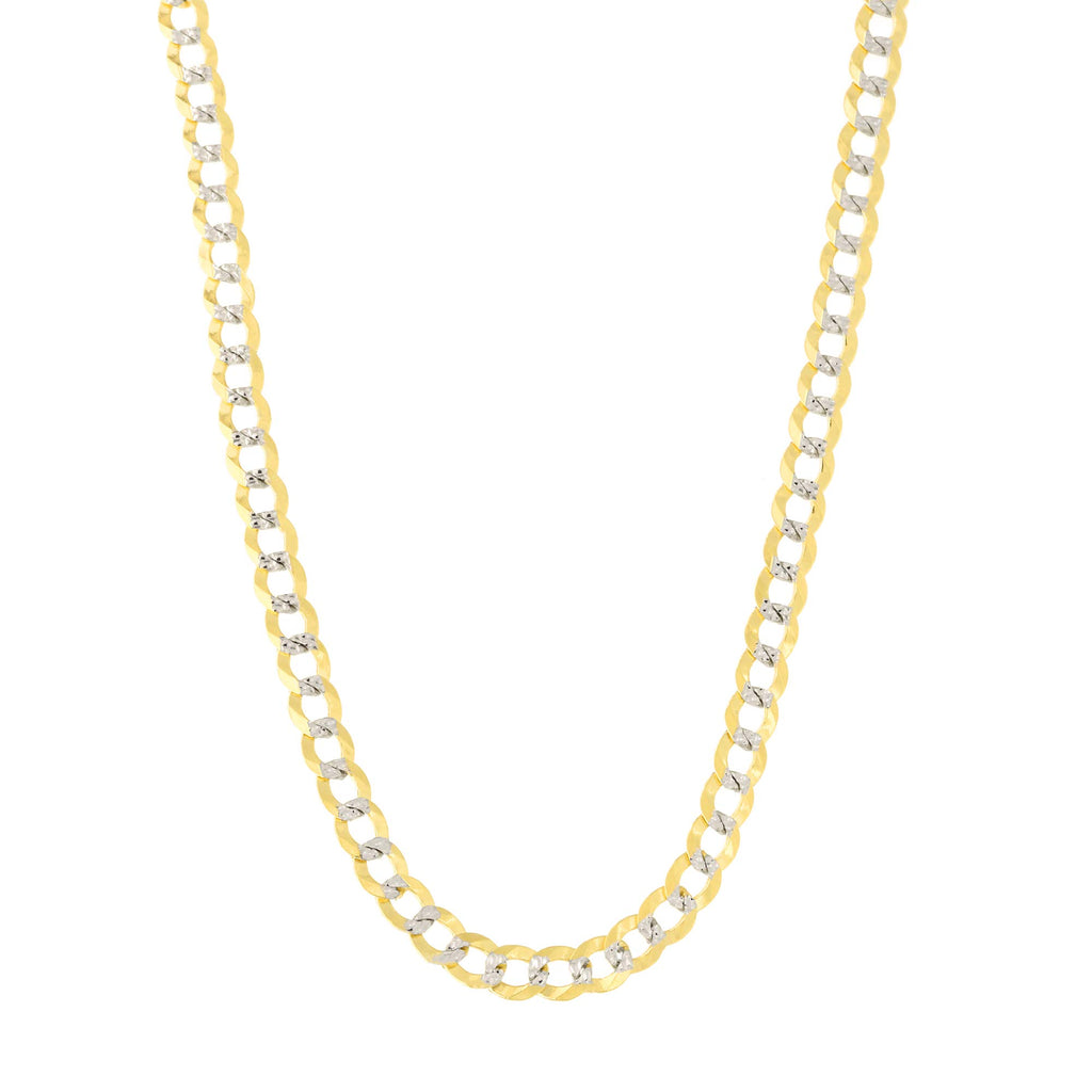 14k Yellow and White Gold Two Tone Diamond Cut Curb Chain Necklace or Bracelet