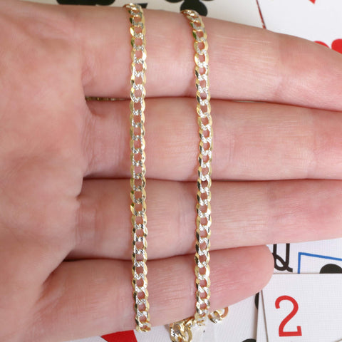 14k Yellow and White Gold Two Tone 3.2mm Diamond Cut Curb Chain Bracelet, 7""