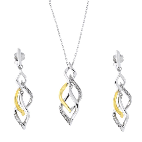 Sterling Silver Rhodium Plated Gold-Tone Two-Tone 0.18ctw Diamond Swirl Pendant Necklace and Earrings Set
