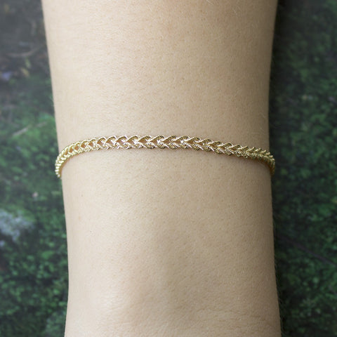 14k Yellow Gold 3.0mm Solid Two Row Strand Rope Bracelet, 7""
