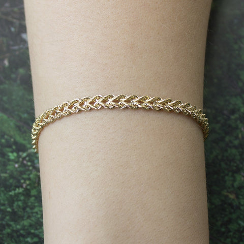 14k Yellow Gold 5.0mm Solid Two Row Strand Rope Bracelet, 7""