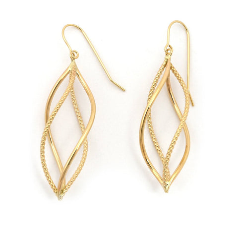 "14k Yellow Gold Twisted Textured Freeform Dangle 1.9"" Earrings"